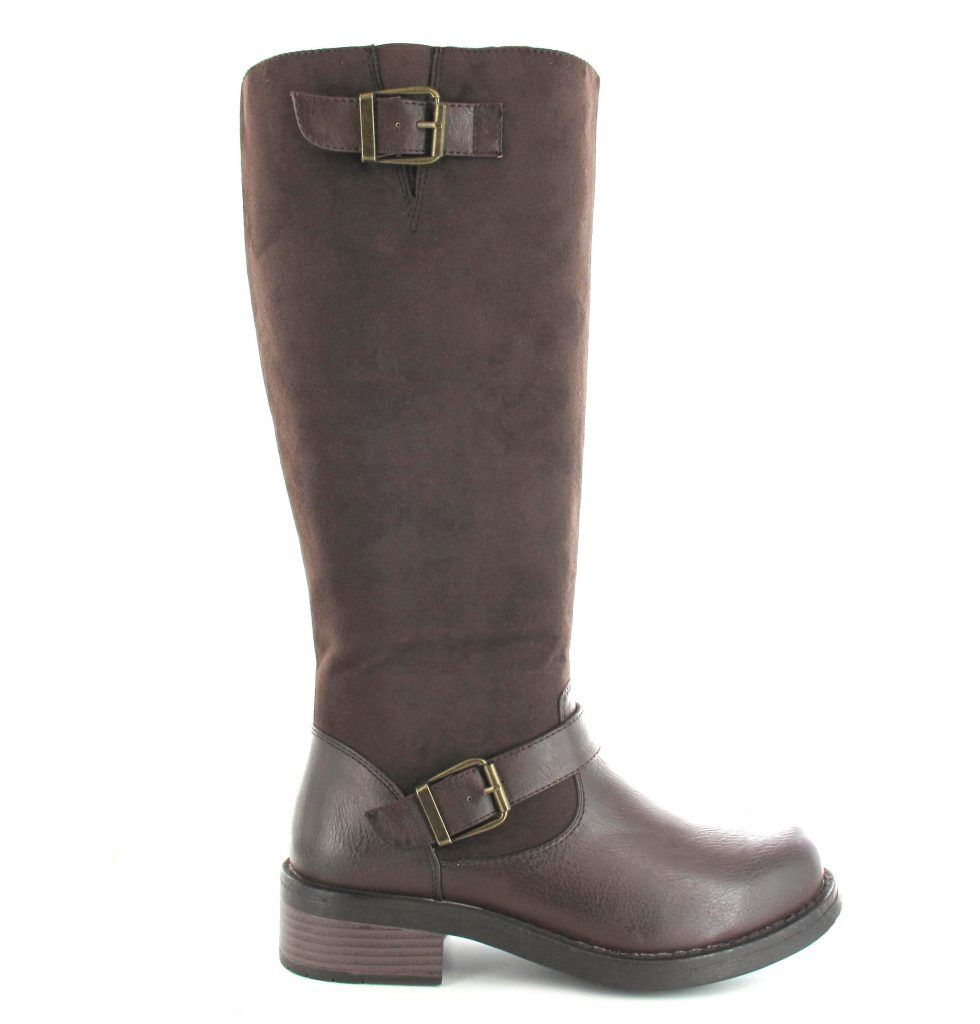 Ella shoes Pine Tall Faux Suede Leather Vegan Knee High Boots Chocolate L86