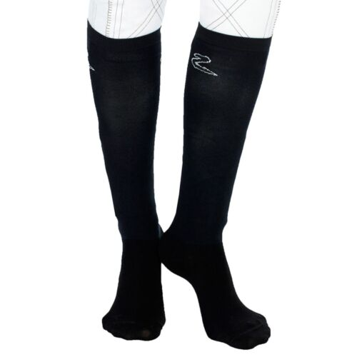 2 Pack Horze Adult English Field Boot Boots Black Socks Over the Calf 8.5-10.5
