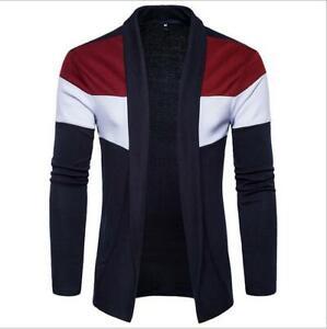 Korean-Men-039-s-Slim-Fit-Sweatshirt-Sweater-Coat-Jacket-Outwear