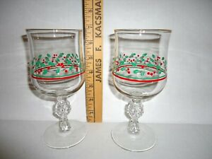 2 Vintage 1987 Arby's Christmas Holly Berry Glasses Wine Goblet w/Bows Libbey