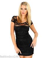 Sexy Damen Kleid mit Spitze  Schwarz One Size Neu Fashionbox24h MM1305
