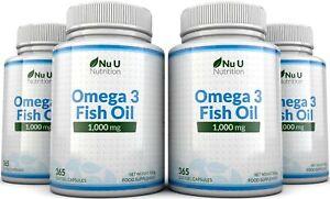 Omega 3 1000mg Fish Oil 4 Bottles x 365 soft gels DHA + EPA 100% MONEY BACK
