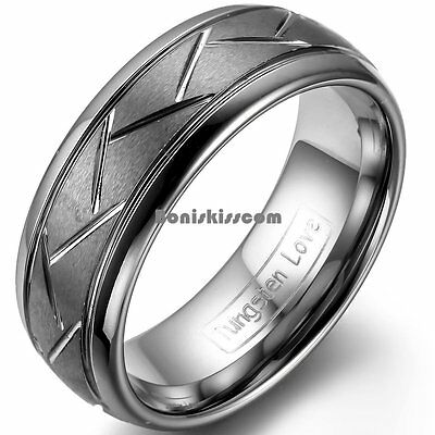 FB Jewels Tungsten Black Center Dual Grooved Dome Mens Comfort-fit 8mm Wedding Anniversary Band Ring