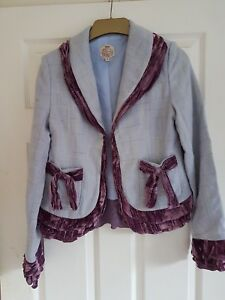 amp; Mix Blue Stunning Bust Jacket Coronets Queens Tweed Pale Wool 36