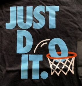 Details about NIKE Big Boys Basketball Just Do It BlackBlue Print Cotton T Shirt New Large