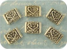 2 Hole Beads ~ Squares with Raised Filigree Heart Pattern ~ Metal Sliders Qty 6