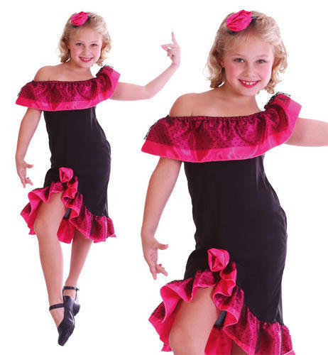 Childrens Kids Flamenco Dancer Girl Fancy Dress Costume Spanish Outfit L