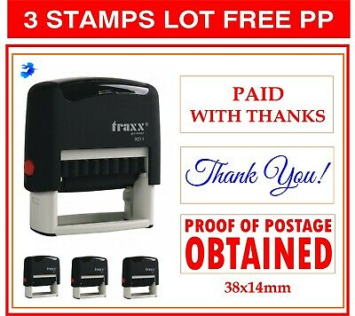 TRAXX 2 Stamps Lot PAID  /& PAID IN FULL  2 Dif TEXTS 4  INK Office Business