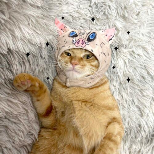 Demon Slayer Kimetsu no Yaiba Hashibira Inosuke Pig Head Hat Cat Cap Pet Cosplay