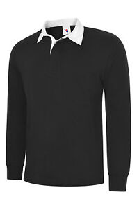 New-Gents-Long-Sleeve-Plain-Classic-Fit-Rugby-Shirt-Unisex-Casual-Sports-TOP-LOT