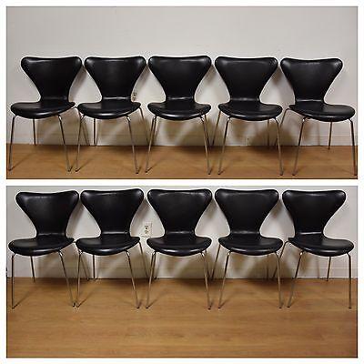 Arne Jacobsen for Fritz Hansen Series 7 Leather Dining Chairs Mid Century Modern
