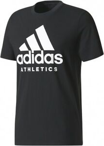 T Shirt Black Cotton New Athletics Men's Logo Adidas Top Ebay X7wx1q