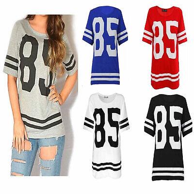 M//L Womens Ladies 85 Varsity T-shirt Football Baseball Jersey Top Size S//M