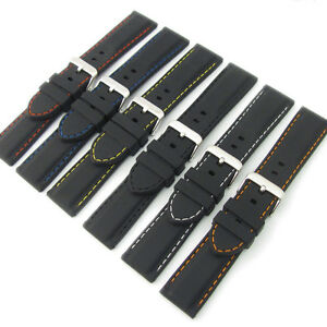 Flexible-Silicone-Watch-Strap-Black-Coloured-Contrast-Stitching-18mm-28mm-C039