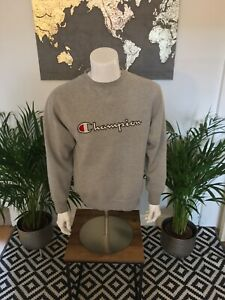 Vintage-Champion-Hoodie-Embroidered-Large-Spell-Out-Grey-Small
