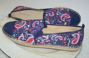 Talbots Espadrille IZZY Flats Women 9.5 M Navy Floral Paisley Slip-On Shoes NEW
