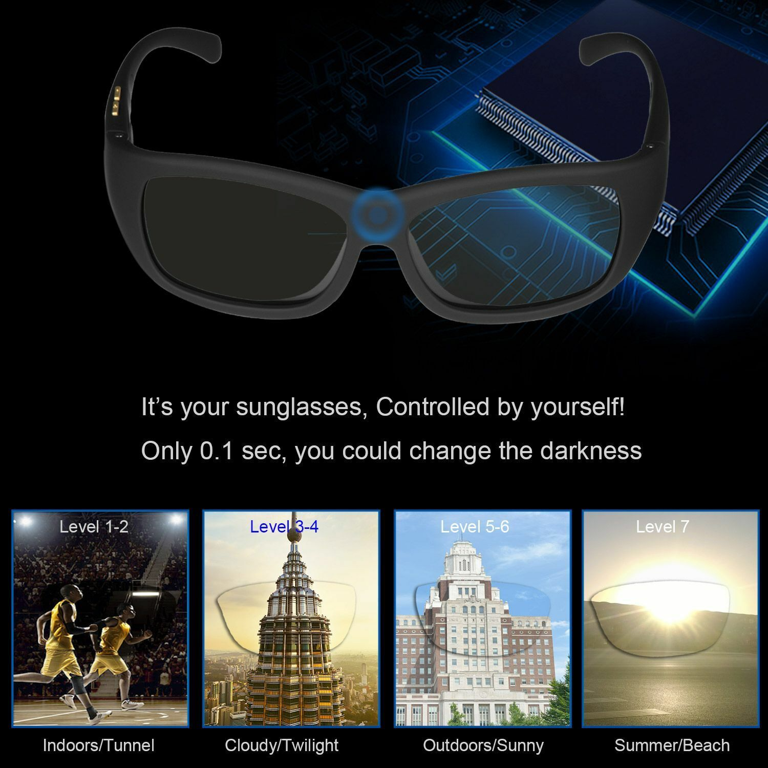 Sunglasses Variable  Electronic Control Adapt Light Surroundings Tint Your Eye  online shopping and fashion store