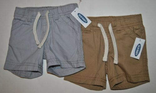 0-3 Months Boy/'s Old Navy Gray or Tan Elastic Waist Front Tie Shorts