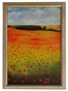 Poppies-and-Clouds-Original-Oil-Painting-Framed-amp-Signed-Vibrant-Landscape-Trees