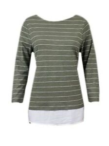 New-Ex-M-amp-S-Striped-Jersey-3-4-Sleeve-Casual-Top-Size-10-24-Khaki-amp-Cream