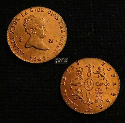 *gutse*698-isabel Ii, 2 Maravedis 1844, Segovia, Brillo Original, Sin Circular