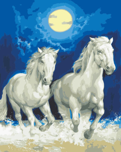 1x Printed Tapestry Thread Canvas White Horses by Moonlight Sewing Craft Tool