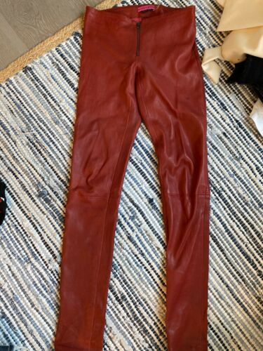 Alice & Olivia Dark Red Zip Front Lambskin Leather