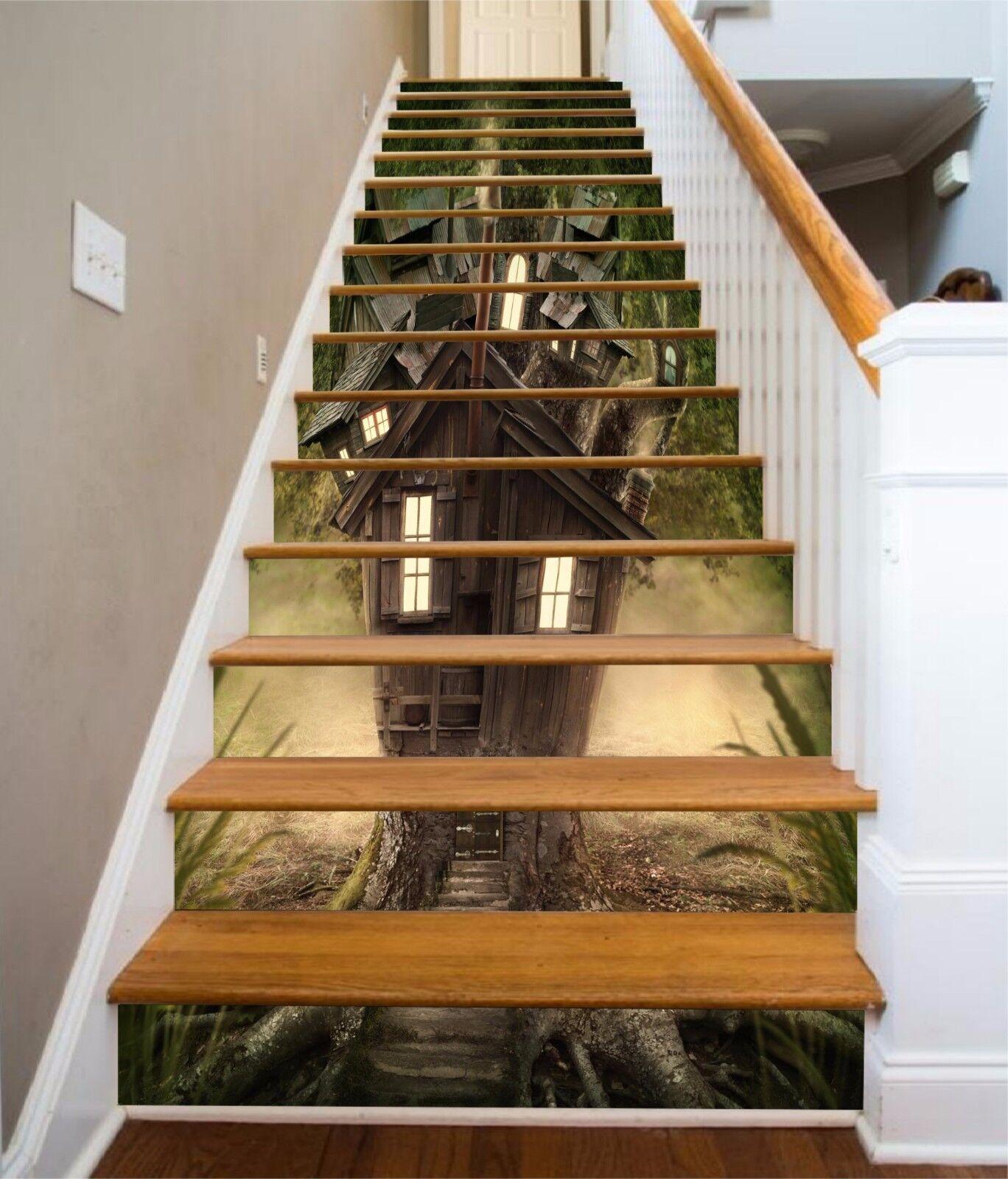 3D Baum Haus 7468 Stair Risers Dekoration Fototapete Vinyl Aufkleber Tapete DE