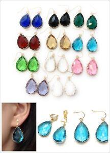Classic-Glass-Crystal-Teardrop-Dangle-Drop-Earrings-Pierced-CLIP-ON-Handmade