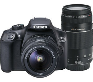 CANON EOS 1300D DSLR Camera & 18-55mm Zoom Lens & 75-300mm Telephoto Zoom Lens