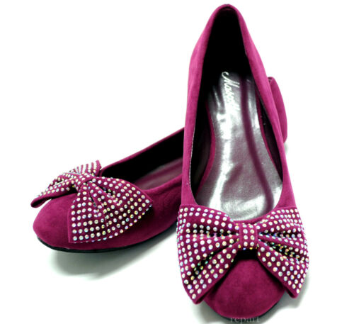 New women/'s shoes ballet flat balleraina suede bow rhinestones violet purple