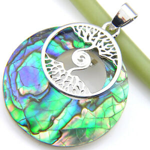 Tree-of-Life-Huge-Handmade-Rainbow-Abalone-shell-Gems-Silver-Necklace-Pendants