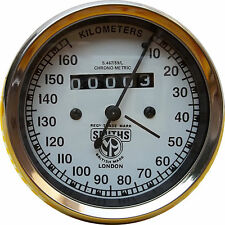 NEW REPLICA SMITHS SPEEDOMETER 160 kph white BSA ENFIELD - fast shipping