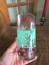 """VINTAGE PEANUT BUTTER?  """"CIRCUS TOP"""" DESIGN BROWN AND GREEN DRINKING GLASS"""