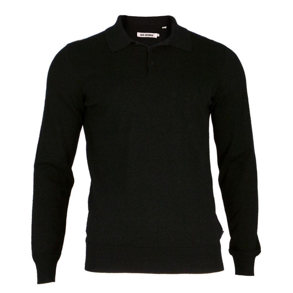 Ben Sherman - Cotton Mens Long Sleeve Polo Shirt