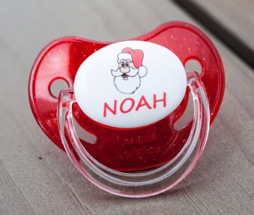 CHRISTMAS 1a PERSONALISED DUMMY PACIFIER SOOTHER ALL TEATS,SIZES /& COLOURS
