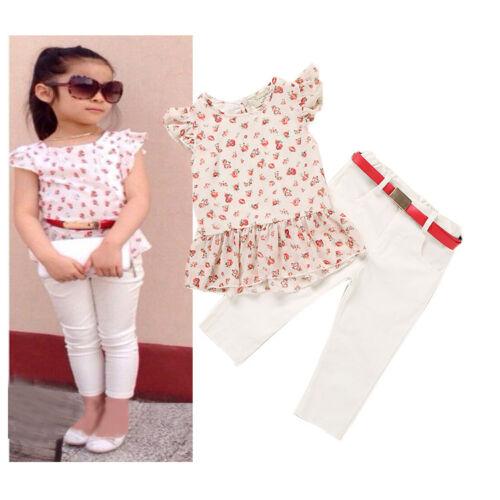 3pcs Toddler Baby Girls Floral T-shirt Tops+Pants+belt Kids Summer Clothes sets