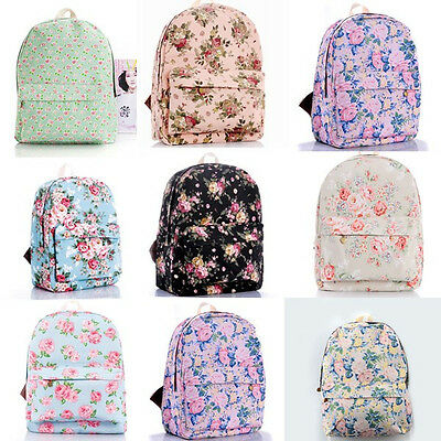 Women Canvas Rucksack Girl Flower Printed Backpack School Shoulder / Travel Bag
