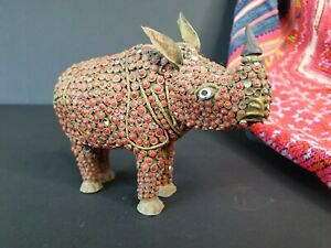 Old Tibetan Brass Rhinoceros Statue Encrusted with Red Coral