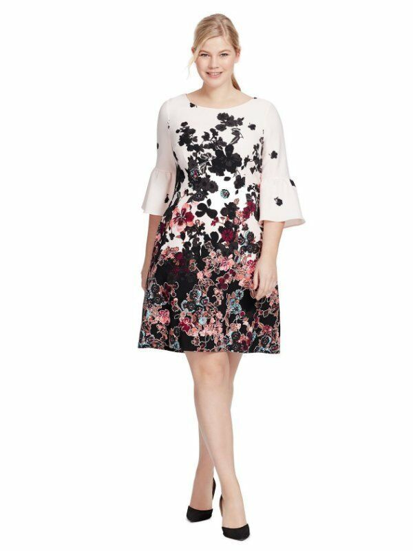 NEW ADRIANNA PAPELL blueSH FLORAL BELL SLEEVE DRESS SIZE 20W