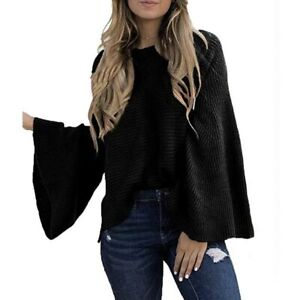 Tops-Solid-Women-039-s-Knitted-Sweater-Long-Sleeve-Casual-Loose-T-shirt-Blouse