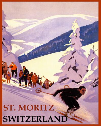 POSTER WINTER SPORT SKI ST MORITZ SWITZERLAND ALPS SKIING VINTAGE REPRO FREE S//H
