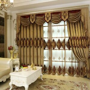 New European Style Curtain Fabric Embroidery Curtains for Living Dining Room