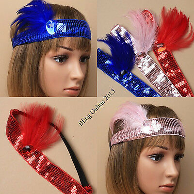 GOLD SEQUIN FEATHER HEADBAND 1920S FANCY DRESS CHARLESTON BROW BAND FLAPPER