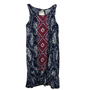 Epic-Threads-Sz-Medium-Medieval-Blue-Sleeveless-Boho-Dress-Tank-Hi-Low-Aztec