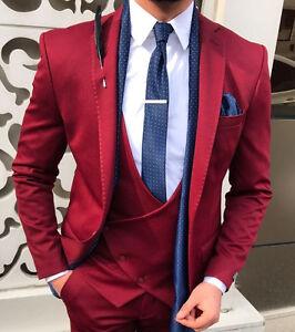 designer business bordeaux rot herren anzug sakko hose weste tailliert slim fit ebay. Black Bedroom Furniture Sets. Home Design Ideas