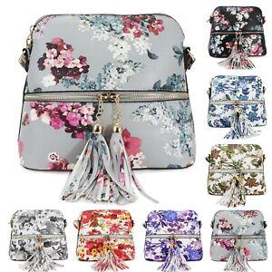 Ladies-Floral-Crossbody-Bag-Women-039-s-Messenger-Front-Zip-Pocket-Shoulder-Bags-New