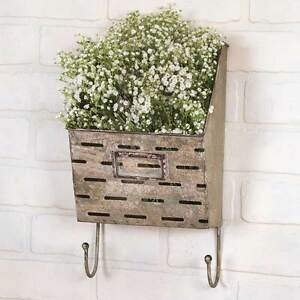 Galvanized Metal Perforated Wall Pocket / Bin / Caddy With Hooks Farmhouse