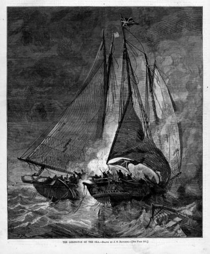 SHIPS LEXINGTON OF THE SEA BATTLE SAILS FLAGS HARPER/'S WEEKLY NAUTICAL ENGRAVING