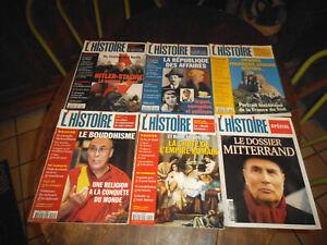 LOT de 6 revues L'HISTOIRE n° 250 à 255 -- Année 2001 Mitterand, Bouddhisme....